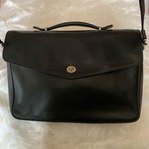 Coach Messenger Laptop Briefcase Black Leather Bag